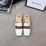 GUCCI鞋子-002 專櫃走秀款古銅雙G配織帶鑲嵌珍珠平底拖鞋
