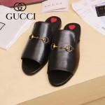 GUCCI鞋子-003 專櫃走秀款桃心黑色進口小牛皮平底拖鞋