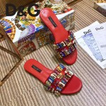 D&G鞋子-002 杜嘉班納新品進口牛皮捷克水鑽平底拖鞋