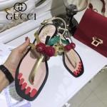 GUCCI鞋子-005 專櫃新品意大利進口牛皮櫻桃珍珠裝飾夾趾涼鞋