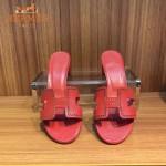 HERMES鞋子-005 愛馬仕經典款進口牛皮H型穿孔透氣中跟拖鞋一字拖
