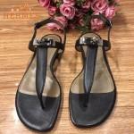 HERMES鞋子-003-3 專屬配長裙款專櫃飾釦平底夾趾涼鞋