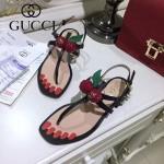 GUCCI鞋子-005-3 專櫃新品意大利進口牛皮櫻桃珍珠裝飾夾趾涼鞋