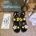 PRADA鞋子-002 普拉達最新款花卉系列原版牛漆皮平底涼鞋