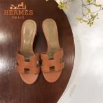 HERMES鞋子-008-3 愛馬仕經典款原版牛皮H型鞋面中跟拖鞋一字拖