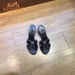 HERMES鞋子-005-2 愛馬仕經典款進口牛皮H型穿孔透氣中跟拖鞋一字拖