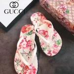 GUCCI鞋子-004-7 專櫃限量紀念版天竺葵紅花圖案情侶款人字拖沙灘鞋