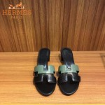 HERMES鞋子-001-2 愛馬仕新款H型雙拼色進口小牛皮拖鞋一字拖