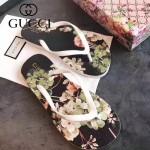 GUCCI鞋子-004-4 專櫃限量紀念版天竺葵綠花圖案情侶款人字拖沙灘鞋