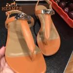 HERMES鞋子-003 專屬配長裙款專櫃飾釦平底夾趾涼鞋