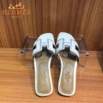 HERMES鞋子-004-2 愛馬仕經典款進口牛皮H型穿孔透氣拖鞋一字拖