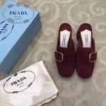 PRADA鞋子-001-2 普拉達春夏新款鞋面羊猄皮粗跟拖鞋