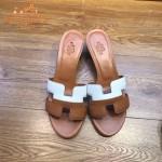 HERMES鞋子-001 愛馬仕新款H型雙拼色進口小牛皮拖鞋一字拖