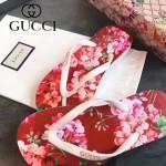 GUCCI鞋子-004-6 專櫃限量紀念版天竺葵紅花圖案情侶款人字拖沙灘鞋