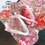 GUCCI鞋子-004-10 專櫃限量紀念版天竺葵紅花圖案情侶款人字拖沙灘鞋