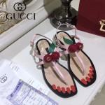 GUCCI鞋子-005-2 專櫃新品意大利進口牛皮櫻桃珍珠裝飾夾趾涼鞋