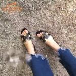 HERMES鞋子-004-3 愛馬仕經典款進口牛皮H型穿孔透氣拖鞋一字拖