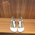 HERMES鞋子-003-2 專屬配長裙款專櫃飾釦平底夾趾涼鞋