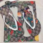 GUCCI鞋子-004-3 專櫃限量紀念版花鳥圖案情侶款人字拖沙灘鞋
