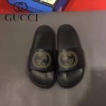 GUCCI鞋子-0006-4 獨家最新原版防滑耐磨大底牛皮五金打釘立體圖案最新款拖鞋