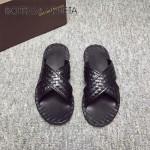 BV鞋子-001-4 夏季原版全手工編織牛皮革面男士爆款涼鞋