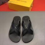 Louis Vittion鞋子-0016 最新款原版五金沖孔迷彩牛皮交叉男士拖鞋