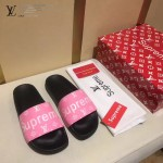 LV鞋子-0018-4 superme定制款牛皮面料羊皮內裡拖鞋