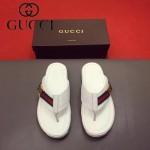 GUCCI鞋子-0013 最新款牛皮織帶拼接原版進口牛皮沖孔人字拖鞋