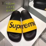 LV鞋子-0017-5 superme定制款牛皮面料羊皮內裡聯名爆款拖鞋
