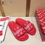 LV鞋子-0018 superme定制款牛皮面料羊皮內裡拖鞋