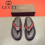 GUCCI鞋子-0011-2 最新款牛皮織帶拼接G字扣人字拖鞋