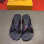Louis Vittion鞋子-0016-5 最新款原版五金沖孔迷彩牛皮交叉男士拖鞋