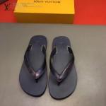 Louis Vittion鞋子-0015 最新款原版五金沖孔迷彩牛皮男士人字拖拖鞋