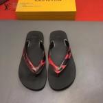 Louis Vittion鞋子-0015-3 最新款原版五金沖孔迷彩牛皮男士人字拖拖鞋
