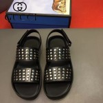 GUCCI鞋子-0009 原版鉚釘涼鞋牛皮打釘牛皮中墊原版橡膠厚底涼鞋