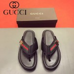 GUCCI鞋子-0013-2 最新款牛皮織帶拼接原版進口牛皮沖孔人字拖鞋
