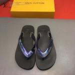 Louis Vittion鞋子-0015-2 最新款原版五金沖孔迷彩牛皮男士人字拖拖鞋