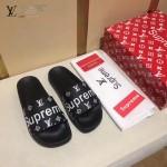 LV鞋子-0018-5 superme定制款牛皮面料羊皮內裡拖鞋