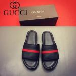 GUCCI鞋子-0012-2 最新款牛皮織帶拼接牛皮沖孔拖鞋