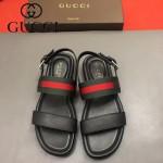 GUCCI鞋子-0010 原版牛皮織帶鉚釘豹頭原版橡膠厚底涼鞋