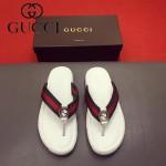 GUCCI鞋子-0011 最新款牛皮織帶拼接G字扣人字拖鞋