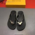 Louis Vittion鞋子-0015-4 最新款原版五金沖孔迷彩牛皮男士人字拖拖鞋