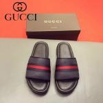 GUCCI鞋子-0012 最新款牛皮織帶拼接牛皮沖孔拖鞋