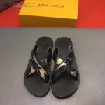 Louis Vittion鞋子-0016-2 最新款原版五金沖孔迷彩牛皮交叉男士拖鞋