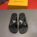 Louis Vittion鞋子-0016-3 最新款原版五金沖孔迷彩牛皮交叉男士拖鞋