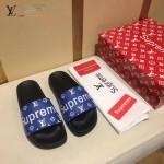 LV鞋子-0018-6 superme定制款牛皮面料羊皮內裡拖鞋