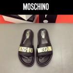 MOSCHINO鞋子-0026 莫斯奇諾進口原版牛皮真空鍍金五金新款拖鞋