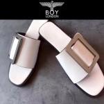 BOYY鞋子-001-3 潮流百搭原單進口牛皮配大方扣平底拖鞋一字拖