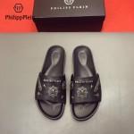 PHILIPP PLEIN鞋子-0028-3 菲利普•普萊茵涼鞋個性牛徽章原版骷髏頭PP大底拖鞋