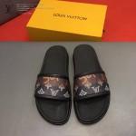 LV鞋子-0021-2 路易威登老花拼色對接完美設計原版拖鞋